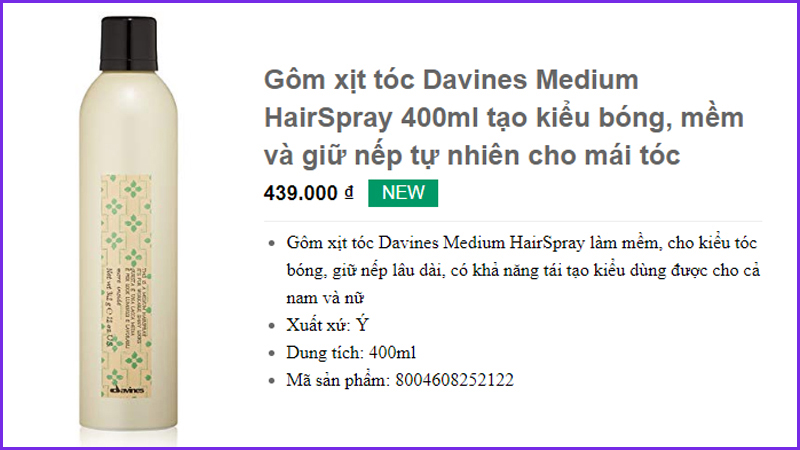 Gôm xịt tóc Davines Medium HairSpray 400ml