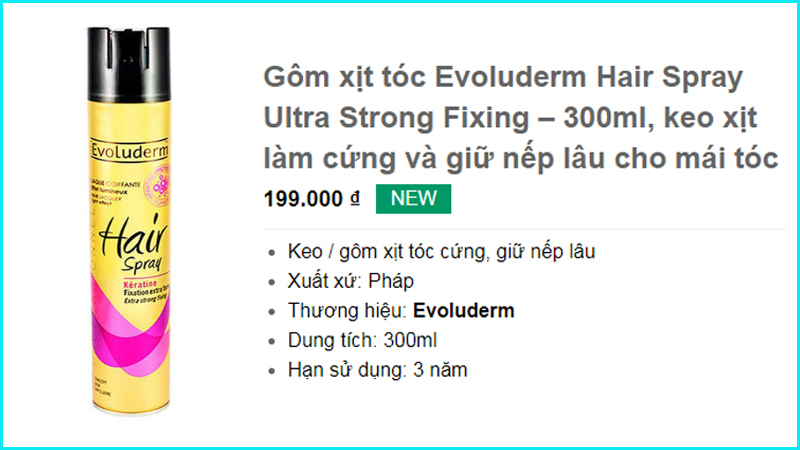 Gôm xịt tóc Evoluderm Hair Spray Ultra Strong Fixing – 300ml