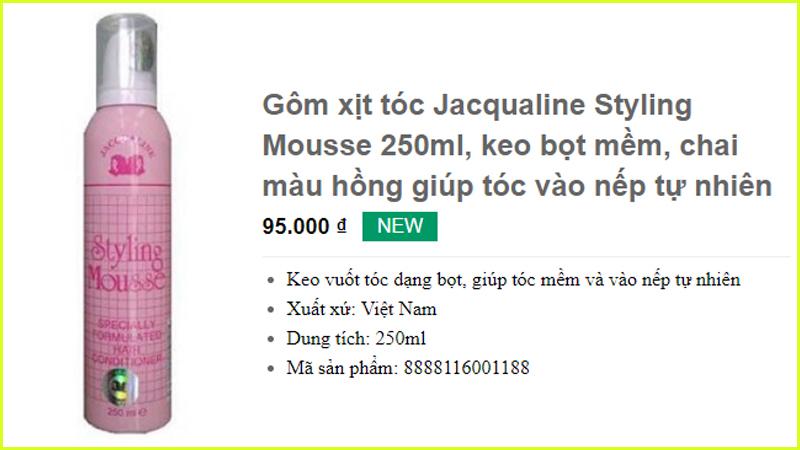 Gôm xịt tóc Jacqualine Styling Mousse 250ml mềm