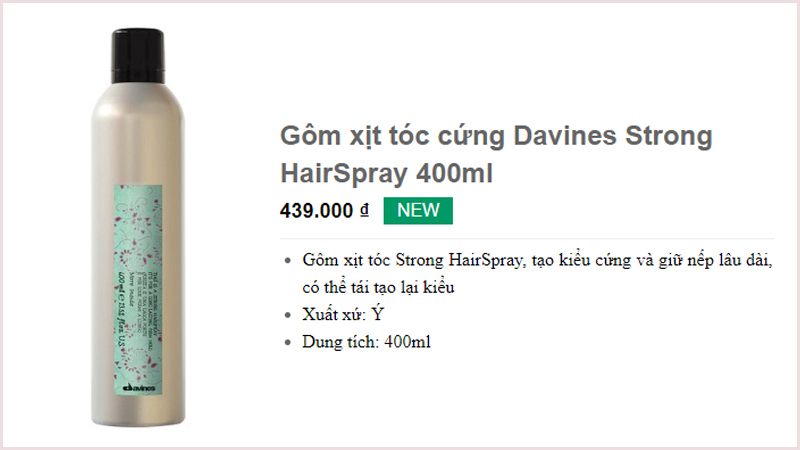 Gôm xịt tóc cứng Davines Strong HairSpray 400ml