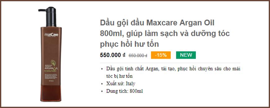 Dầu gội đầu Maxcare Argan Oil 800ml