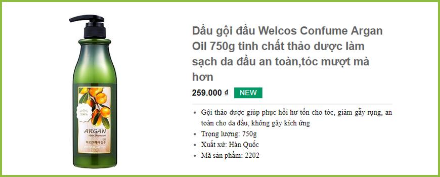 Dầu gội đầu Welcos Confume Argan Oil 750g