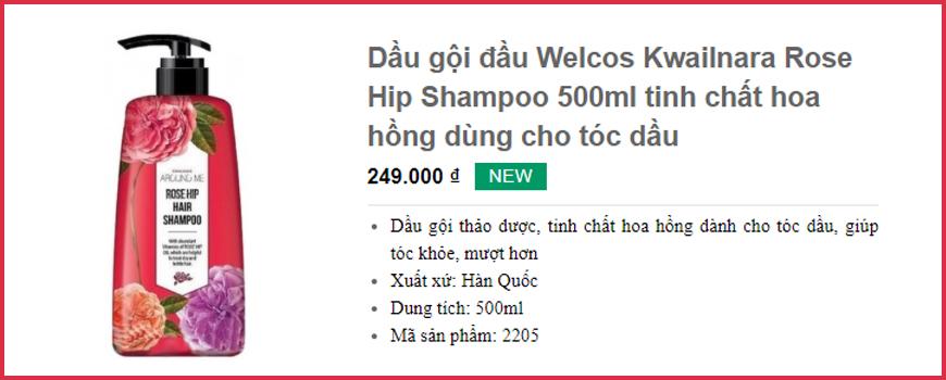 Dầu gội đầu Welcos Kwailnara Rose Hip Shampoo 500ml