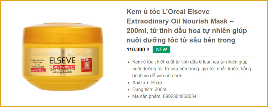 Kem ủ tóc L'Oreal Elseve Extraodinary Oil Nourish Mask – 200ml