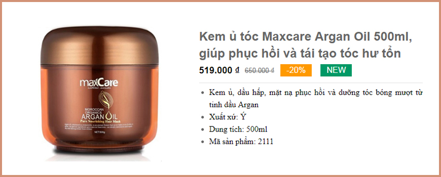 Kem ủ tóc Maxcare Argan Oil 500ml