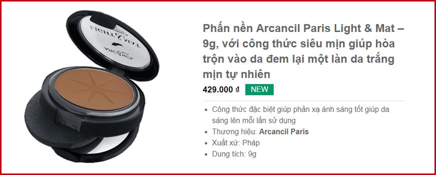 Phấn nền Arcancil Paris Light & Mat – 9g