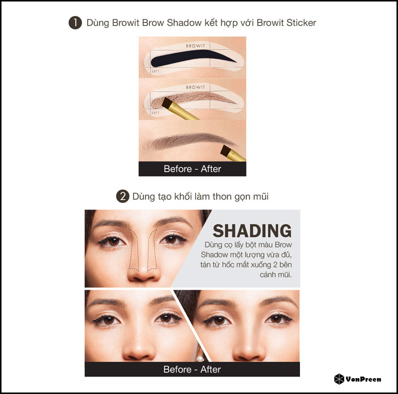 Phấn kẻ chân mày Browit Easy Drawing Brow Shadow – 4g Free Brow Sticker 2 Pairs Series 1 Dark Brown